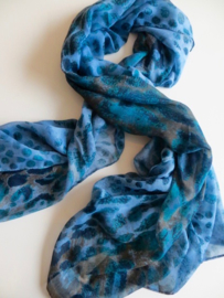 ROMANO scarf in blue abstract leopard print- voile. 80x180cm