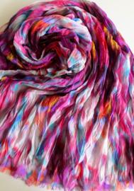 A-zone sjaal fuchsia paars ikat print, viscose 60 x180cm
