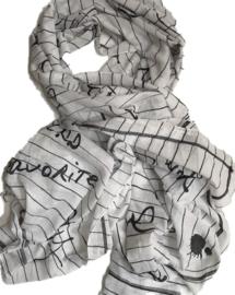 A-zone sjaal wit zwart Paris & hartjes print