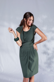 VETONO summer dress in green stretch poplin