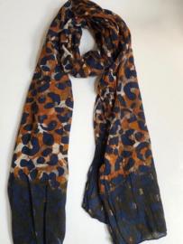 A-zone sjaal batik print lurex accent, navy cotton 50x180cm
