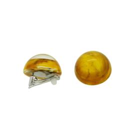 ZSISKA earrings yellow ochre marble  20 mm. CLIPS CLARITY