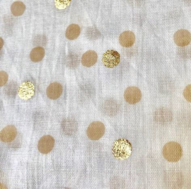 A-zone sjaal polka dots wit beige gold katoen 50 x180cm