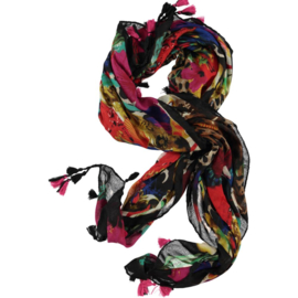 Scarf printed with vivid colors , mousseline  viscose 120 x 120cm
