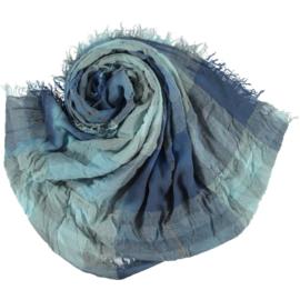 My Clou sjaal jeans blauw  ruit, viscose 90x200cm