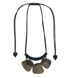 ZSISKA necklace gold black  3 beads stripe. MIRAGE
