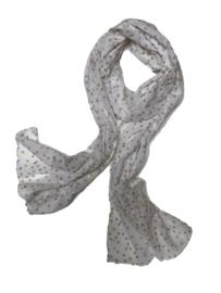 A-zone sjaal polka dots wit beige goud katoen 50 x180cm
