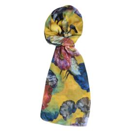 LEEZZA  sjaal geel bloemen