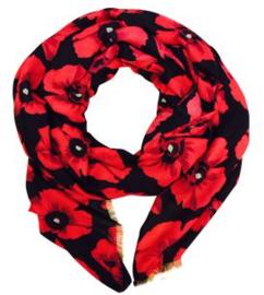 Sjaal rood zwart klaproos print, twill mouseline. 90 x180cm