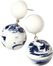 ZSISKA earrings Delft blue white, studs. DELFT BOLAS