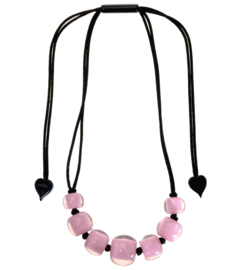 ZSISKA necklace light pink 7 beads, COLORFUL BEADS