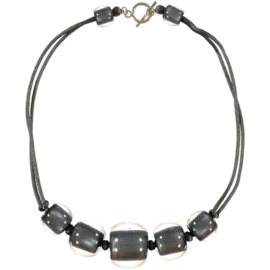 ZSISKA necklace grey 5 beads choker  BALL'S