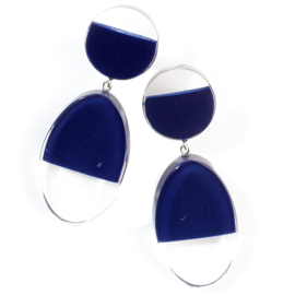 ZSISKA earrings blue navy transparant. studs - CUT OUT