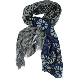 Sjaal Scandi patchwork print blauw grijs, viscose, 80 x 180 cm