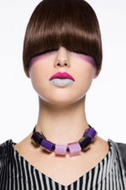 ZSISKA necklace purple multi col.  CUBES