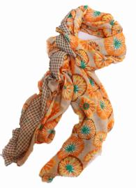Sjaal bloem ruit oranje