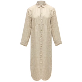 LEEZZA linnen jurk overhemdmodel