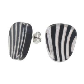 ZSISKA earrings silver black studs. MIRAGE