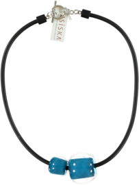 ZSISKA ketting blauw petrol, 2 kralen, COLOURFUL BEADS