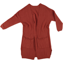 LEEZZA long fall cardigan brique, pockets, no buttons