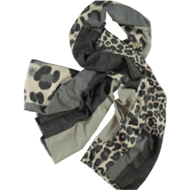 Winter scarf grey with offwhite, various  animal prints & blocks . 80x180cm