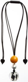 ZSISKA ketting zwart wit geel pendant  AUDREY