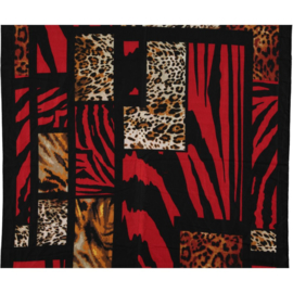 Scarf red camel black animal print, 80 x 190cm