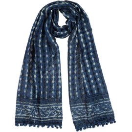 LEEZZA Scarf  blue white block print small paisley border