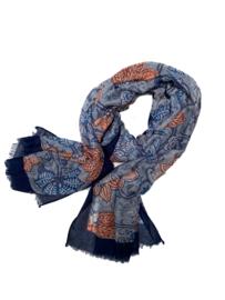 LEEZZA sjaal blauw brique paisley print viscose katoen 80 x 180 cm