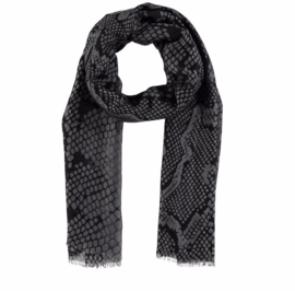 A-Zone scarf with snake print .Grey black muslin. 90 x 180 cm.