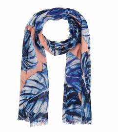 A-zone sjaal blader print blauw, batist cotton, 50x180cm