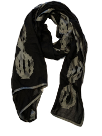 SILK ROUTE scarf/stole black voile with grey silk application
