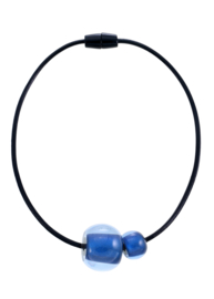 ZSISKA ketting kobalt blauw 2 kralen.  BALL'S