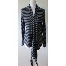 ELSEWHERE cardigan wrap grey black 1 cm striped jersey. STYLE 2510