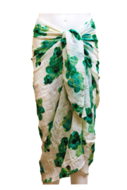 A-Zone summer scarf  white green flower print, 100x180cm