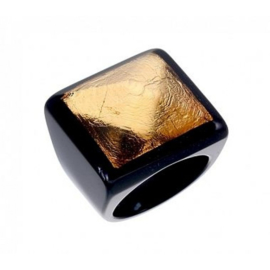 ZSISKA ring gold black. DECO