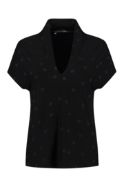 ELSEWHERE top - zwart jersey dot