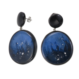 ZSISKA earrings blue black & silver, studs. STARRY SKY