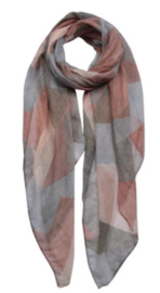 Scarf pink grey abstract patchwork print, 80 x 180