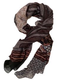 Sjaal mix prints bruin zwart