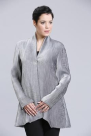 VETONO cardigan jacket in silver grey striped viscose SIZE II
