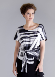 ELSEWHERE top met overslag zwarte print STYLE 3260