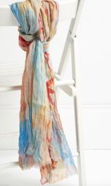 Jo Edwards sjaal Tokyo print blue, modal/katoen. 100x200cm