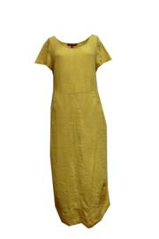 VETONO zomerjurk geel gewassen linnen,  kapmouw. Maat II