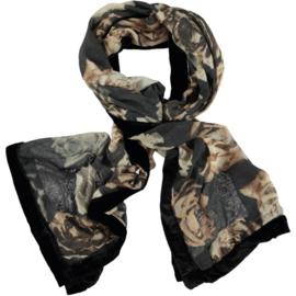ROMANO sjaal beige zwart met fluwelen rand. 65x180 cm