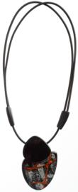 ZSISKA ketting zwart grijs koper pendant FABRIQUE