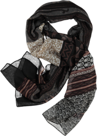 Scarf with a mix of dark colors plus white . Artistic print. 80 x180cm