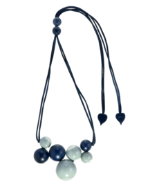 ZSISKA necklace navy grey, 14 beads. BOLAS