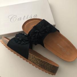 CATISA slippers zwart suedine
