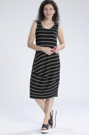 VETONO dress black white striped jersey